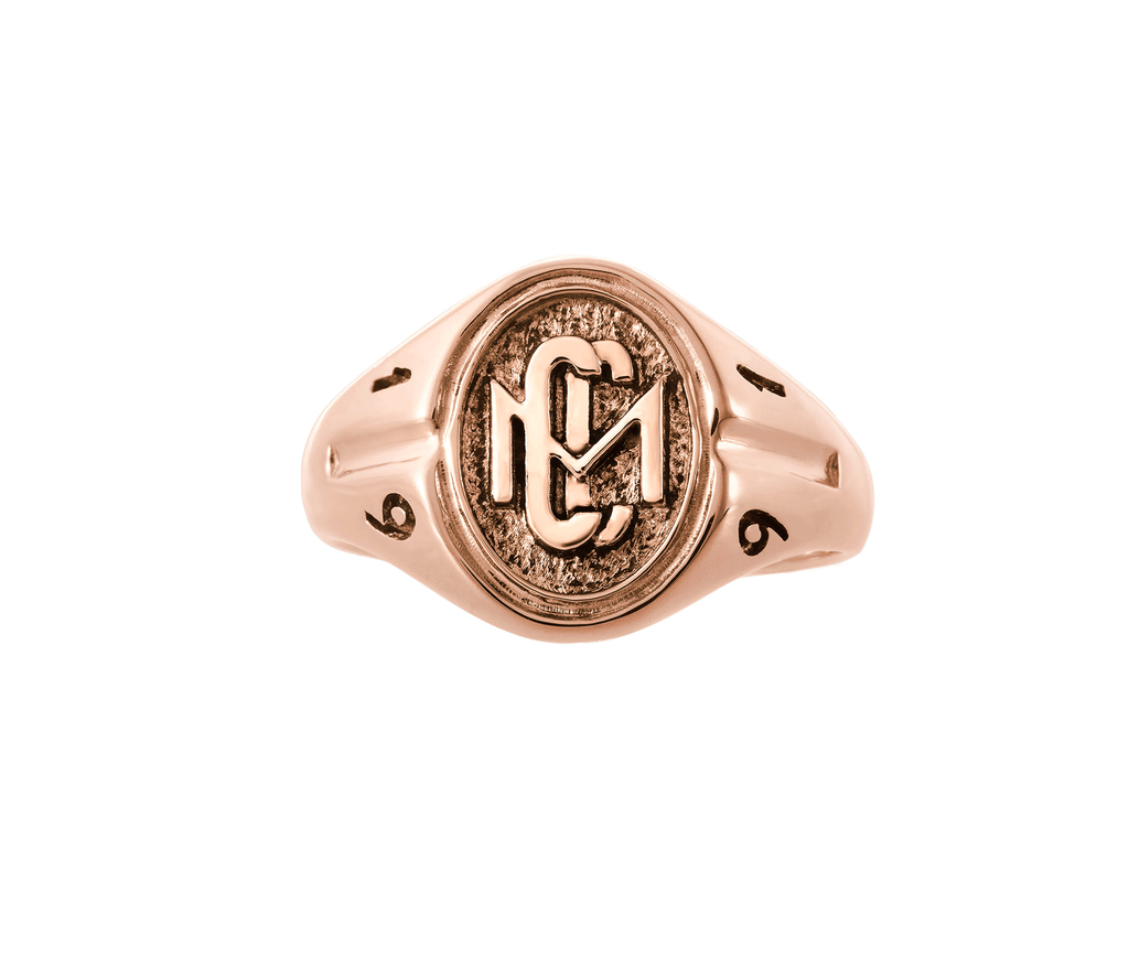 Womans Rose Gold CMC custom design class ring by AMD Originals with engraved 1991 year, front view.
