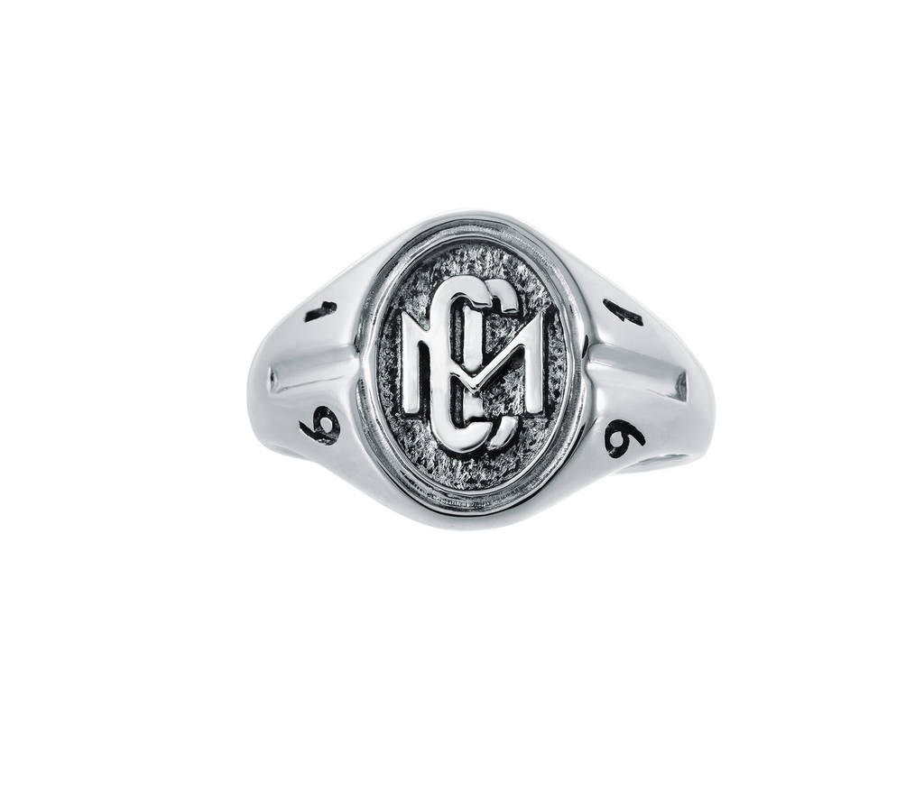 Womans Sterling Silver CMC custom design class ring by AMD Originals with engraved 1991 year, front view.