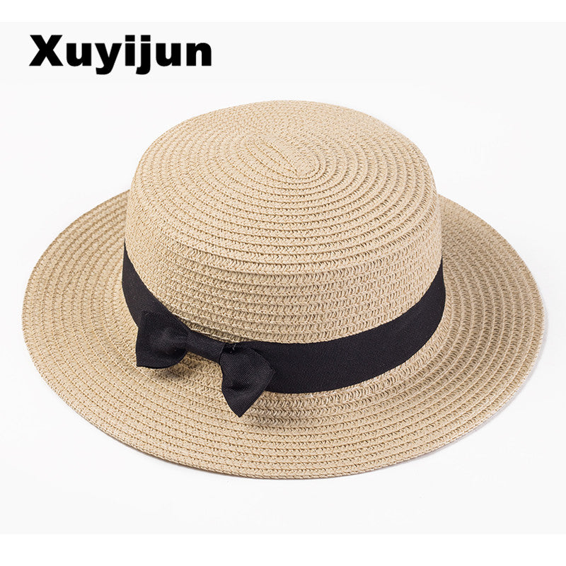Lady Boater Sun Caps Ribbon Round Flat Top Straw Beach Hat