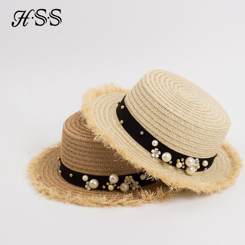 Flat Top Straw Hat Summer Spring