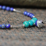 Headmade necklace,Bell made with Natural lapis lazuli beads and silver, natural lapis lazuli beads, short neck lace