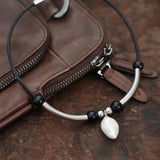Cowhide leather necklace, punk style necklace, cool, stainless steel necklace