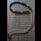 Natural Obsidian Beads Necklace, Stainless Steel Chain/Tassel Long Necklace