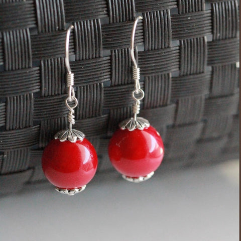 Handmade Red Enameled Shell Pearl Earrings with Sterling Silver Hooks