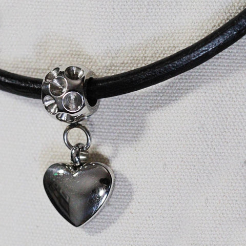 Handmade Cowhide Leather Cord Necklace With 304 Stainless Steel Heart Pedant