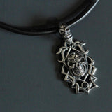 Handmade Cowhide Leather Cord Necklace With 304 Stainless Steel Punk Style Skull Pedant