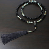 Handmade Necklace, Natural Obsidian/African Turquoise Beads Necklace, Tassel necklace,Sterling Silver Necklace