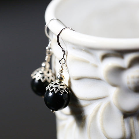 Handmade Earrings, Grade AA Natural Obsidian Beads, Sterling Silver Endings