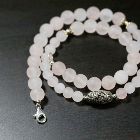 Handmade Necklace, Natural Rose Quartz Beads, Sterling Silver Rose Bead, Love Necklace, For Her, Short Necklace
