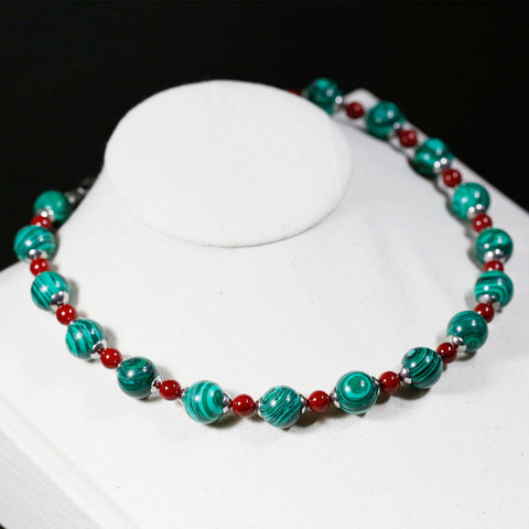 Handmade Red and Green Beads Necklace,Malachite Beads, Red Shell Pearls Necklace