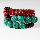 Handmade Memory Wire ,Malachite Beads, Red Shell Pearls Bracelet