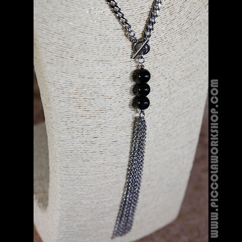 Handmade Chain Necklace, Obsidian Beads Necklace, Tassel Necklace