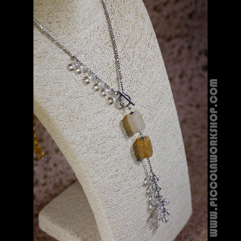 Handmade Chain Necklace, Crystal Necklace, Tassel Necklace