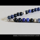 Handmade GradeA Natural Sodalite Beads, A Large Thai Sterling Silver Charm, Beaded Necklace