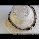 Handmade GradeAA Natural Black Rutilated Quartz Beads Necklace, Sterling Silver Necklace,Beaded Necklace