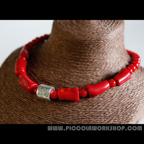 Handmade Natural Red Coral Beads Necklace, Sterling Silver Charm