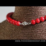 Handmade Natural Red Coral Beads Necklace, Sterling Silver Charm Necklace