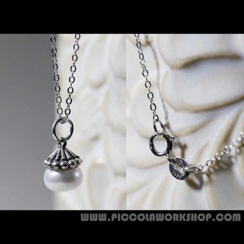 Sterling Silver Plated With Platinum Necklace,Pearl Pendant