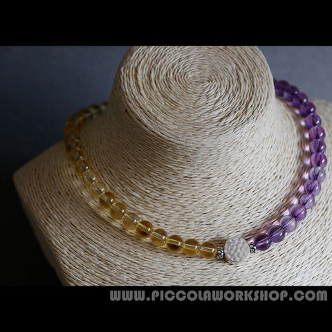 Handmade Amethyst&Citrine Beads Necklace, Crystal Necklace,Sterling Silver Necklace