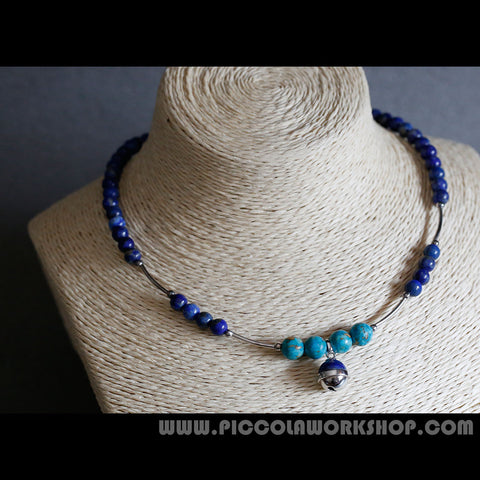 Headmade Natural Lapis Lazuli Beads,Sterling Silver,Bell Necklace
