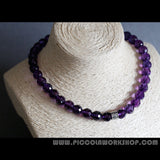 Handmade Grade AA Natural Amethyst Beads Necklace,Sterling Silver Items