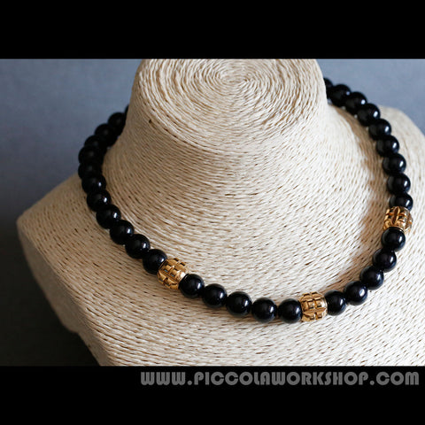 Handmade Necklace, Natural Obsidian Beads(Grade AA), Short Necklace