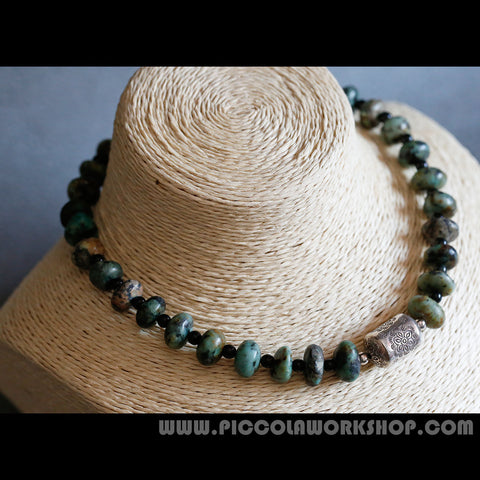 Handmade Natural African Turquoise Necklace, Silver Retro Necklace