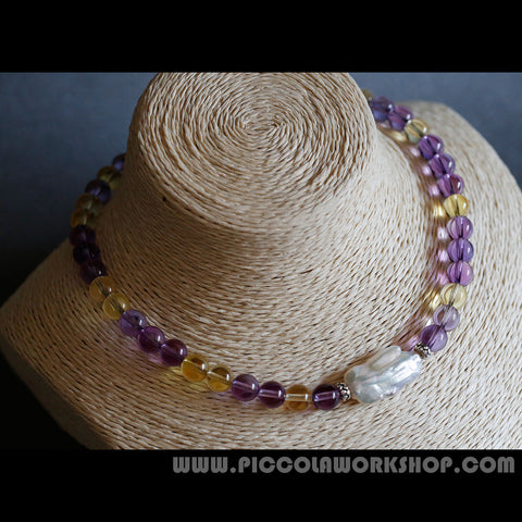 Handmade Natural Ametrine Beads,Pearl Bead,Silver Clasp Necklace
