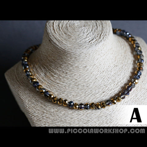 Electroplate Glass Beads Necklace, Half Plated Beads