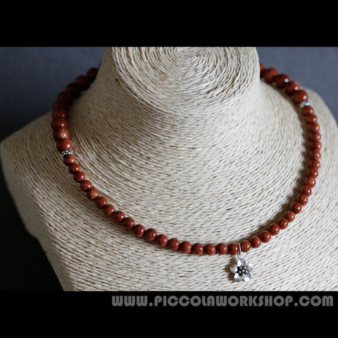 Goldstone Beads Necklace, Sterling Silver Flower Pendant