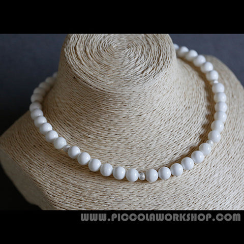 White Natural Shell Beads Necklace,GradeAAA,Sterling Silver Beads Necklace