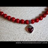 DarkRed Shell Beads Necklace,Sterling Silver Opal Heart Pendant, Love Necklace, Valentine's Gift