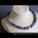 Natural Blue Aventurine Beads Necklace,Thai Sterling Silver Necklace,Blue Beads Necklace