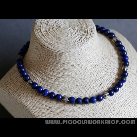 Natural Lapis Lazuli Beads Necklace, Thai Handmade Sterling Silver Beads Necklace
