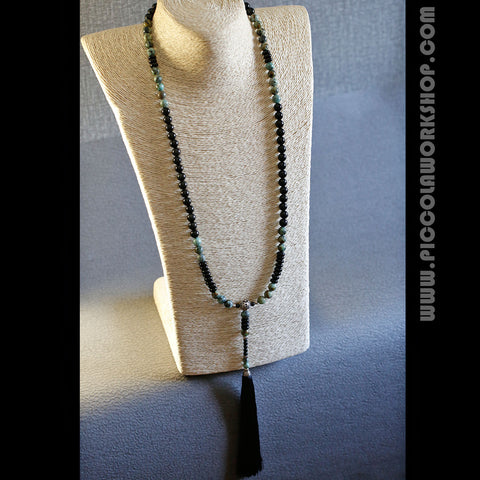 Handmade Natural Obsidian/African Turquoise Beads Necklace, Tassel necklace