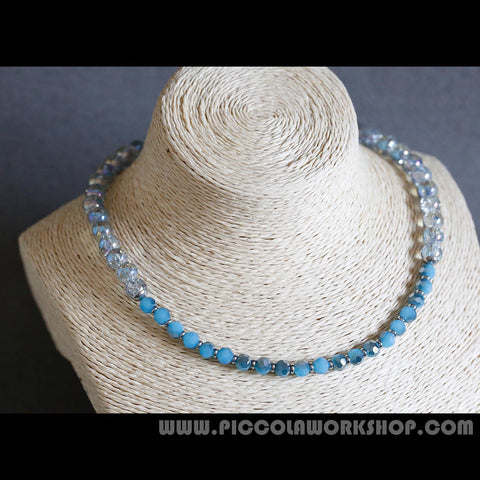 Electroplate Crackle Half Plated Glass Beads Necklace