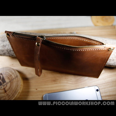 Hand Stitched Genuine Leather Clutch Bag,Zipper Clutch,Leather Liner, Wristlet Clutch, Clutch Purse, Clutch For Man, Clutch For Woman