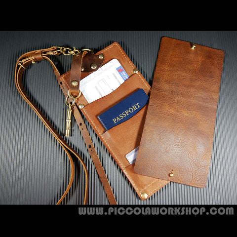 Hand Stitched Genuine Leather Ticket And Passport Holder