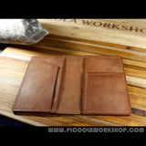 Hand Stitched Genuine Leather Ticket And Passport Travel Wallet