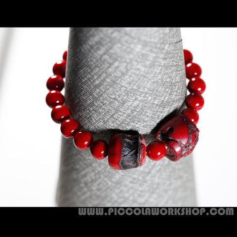 Red Enameled Shell Beads, Coral Beads Bracelet