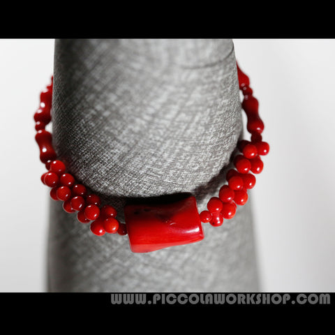 Red Natural Coral Beads Bracelet