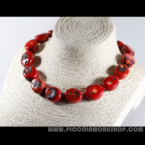 Natura Red Coral Beads Necklace With Lobster Clasps