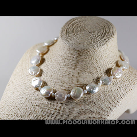 Natural Pearl Beads Necklace with Sterling Silver Lobster Clasps