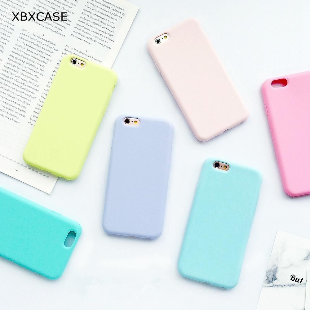 outlet store e0b50 76c1f Macarons TPU Silicone Frosted Matte Case for iPhone