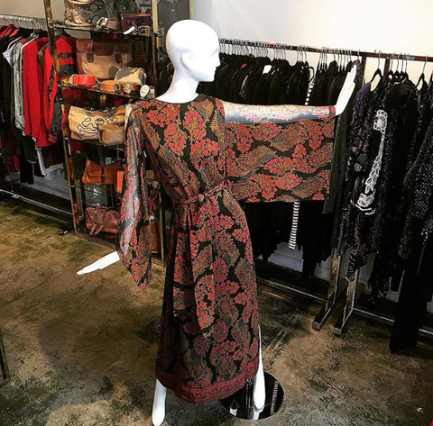 70's Treacey Lowe London Silk Boho Dress