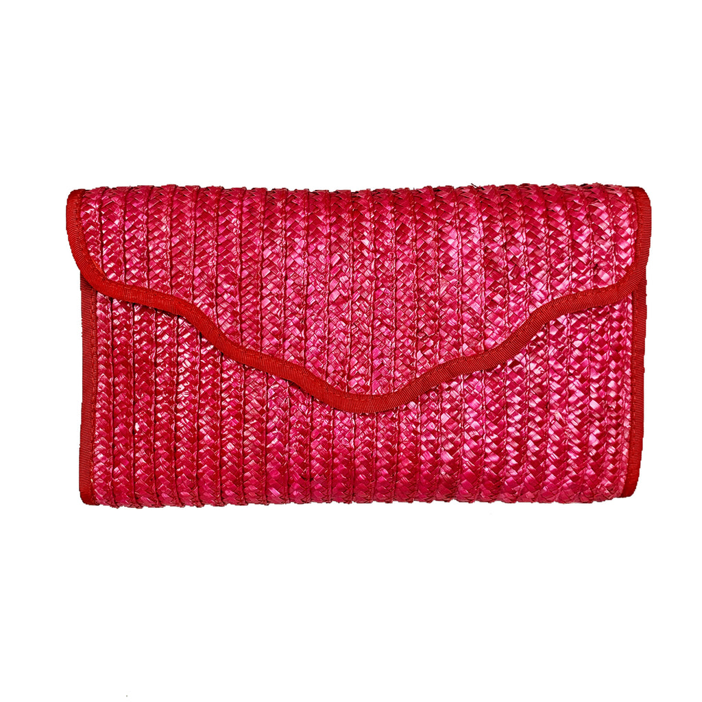 Pink / Red Vintage Straw Clutch