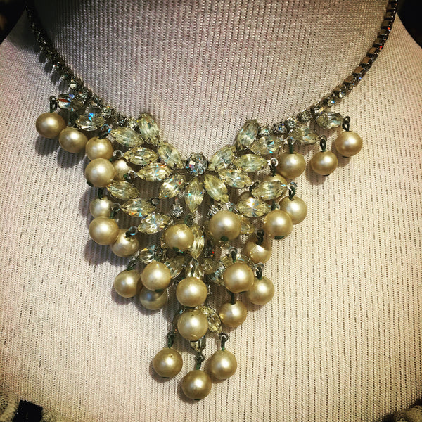 Vintage Faux Pearl + Stone Necklace