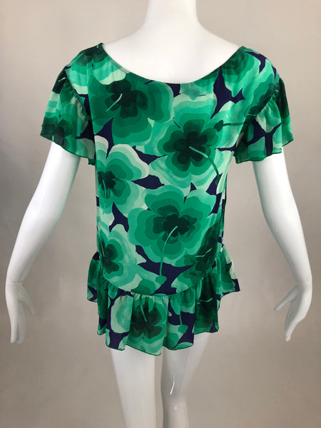 Moschino Green Floral Top - Size 2