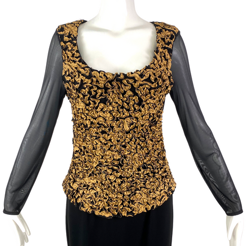 Kay Celine Black & Gold Top