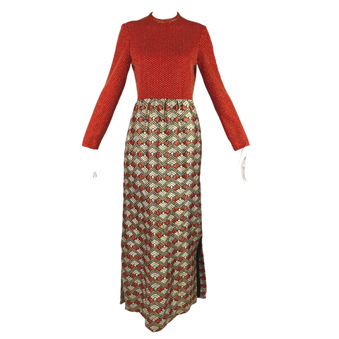 Retro Red + Gold Lame Maxi Dress